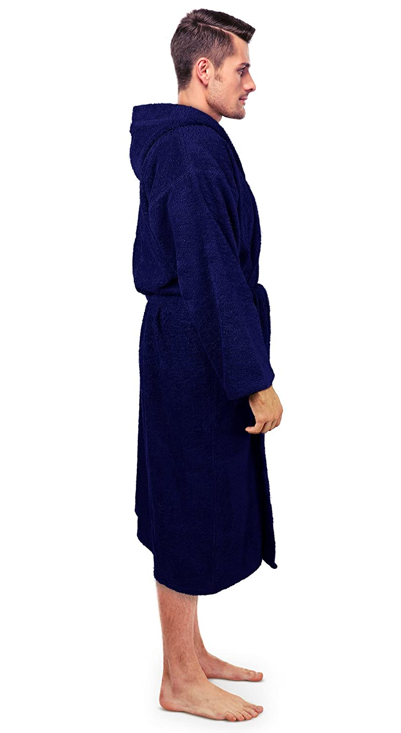 Thick Hooded Bathrobe Turkuoise Mens Turkish Terry Cloth Robe