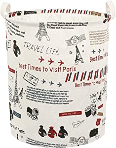Clothes Laundry Hamper Storage Bin Large Collapsible Storage Basket Kids Canvas Laundry Basket for Home Bedroom Nursery Room (Y-Paris Tower, L)