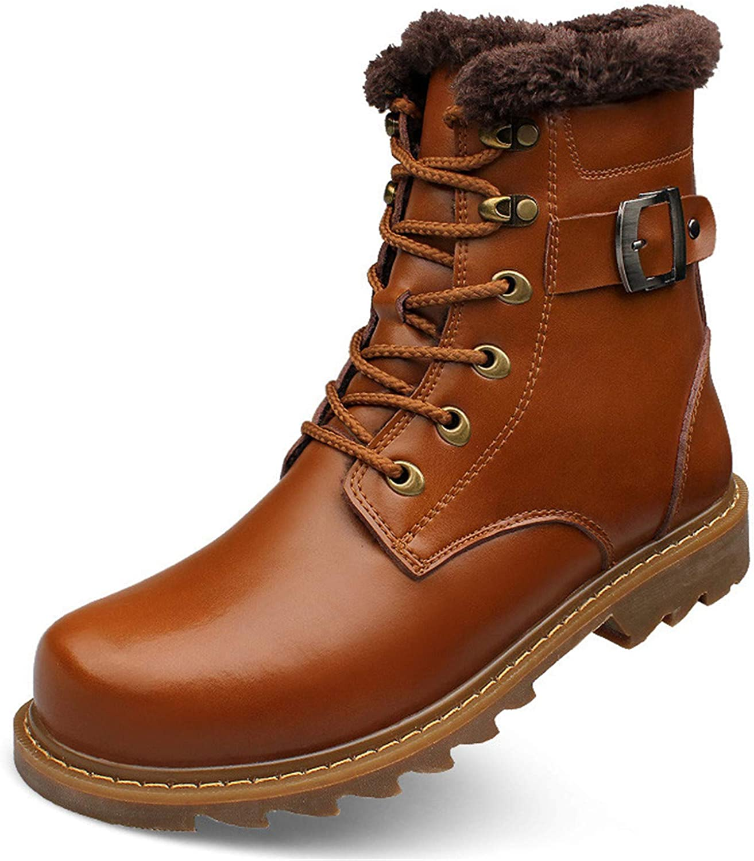 Dorathywatm Winter Warm Leather Boots Men Shoes Fashion Sneakers Footwear Luxury Male Snow Shoes Outdoor Rubber Ankle Fur Light Brown 9.5