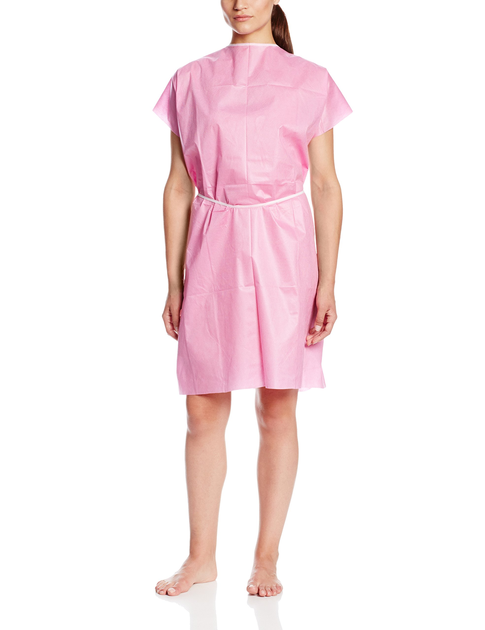 ValuMax 3510RB Disposable Patient Gown, No See Throught, Tears-Resistant, Fluid Resistant, Raspberry, Case of 50, Regular Size.