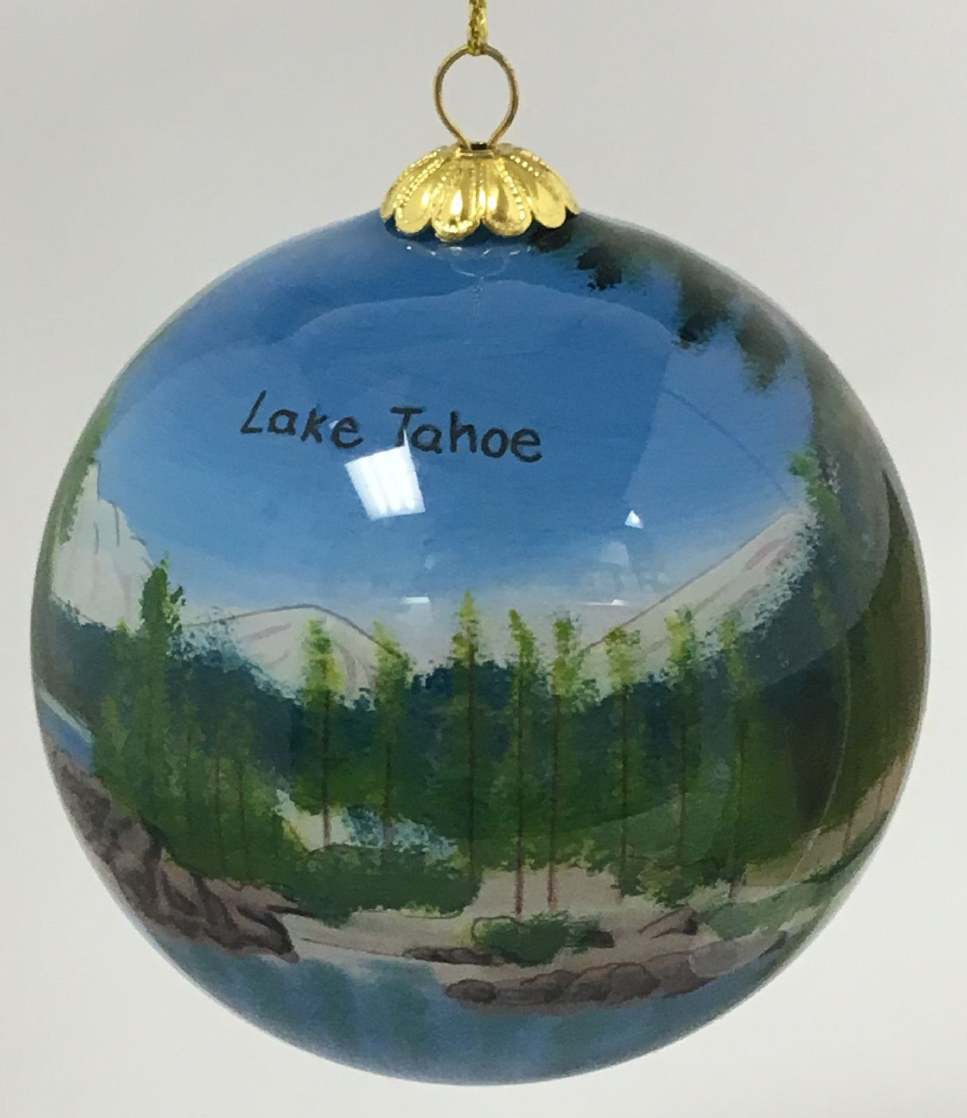 Home and Holiday Shops Lake Tahoe Nevada Scenic Reverse Painted Glass Ball Christmas Tree Ornament New