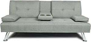 NOUVCOO 2020 Quality Upgrade Sofa Modern Linen Upholsted, Convertible Folding Recliner Lounge Futon Couch with Cup Holders/Armrest/Metal Legs for Living Furniture/BedRoom/Home/Small Places, Light Gray