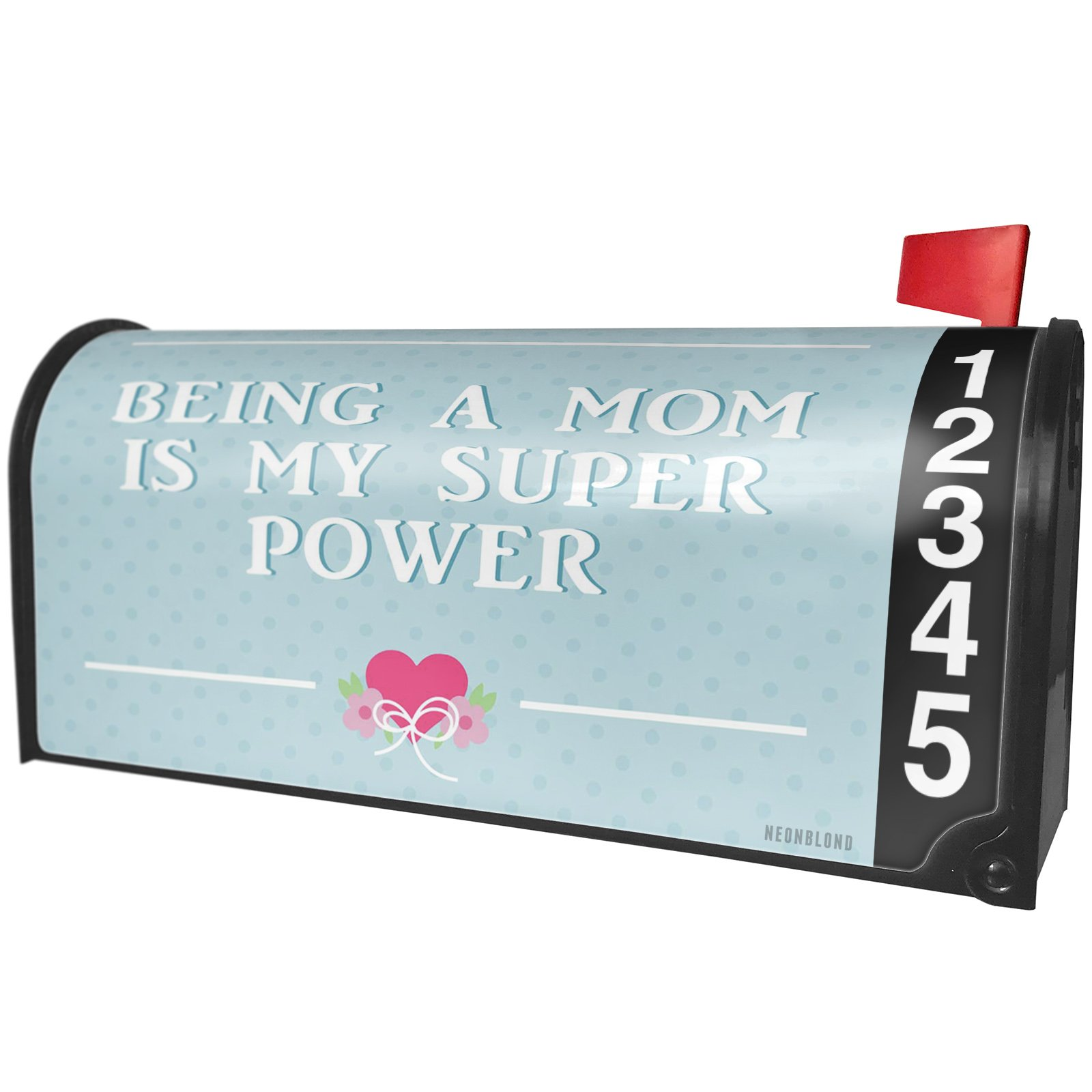 NEONBLOND Being a Mom is My Super Power Mother's Day Teal with Pink Heart Magnetic Mailbox Cover Custom Numbers