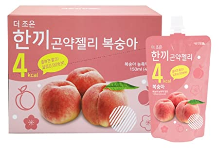One Meal 4 Kcal Peach Flavor Konjac Jelly Collagen Diet Food Weight Loss Vitamin C 1 Box 10 Packs