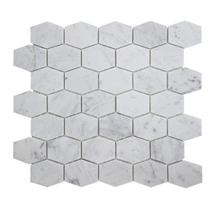 Carrara White Marble Mosaic Tile CWMMLHEXH X Hexagon - 2 carrara marble hexagon floors