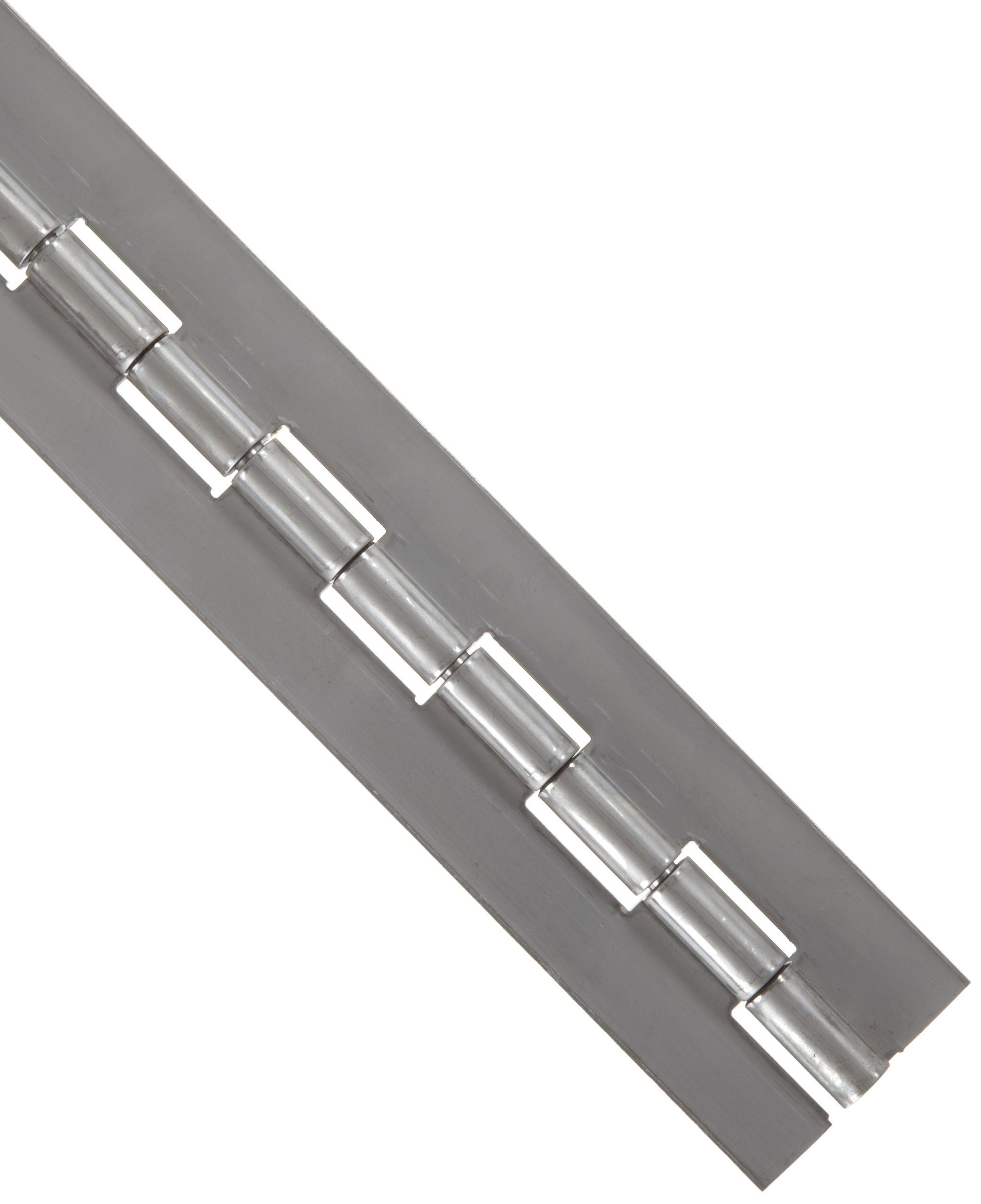 Stainless Steel 316 Continuous Hinge without Holes, Unfinished, 0.09'' Leaf Thickness, 2'' Open Width, 1/4'' Pin Diameter, 1'' Knuckle Length, 2' Long (Pack of 1)