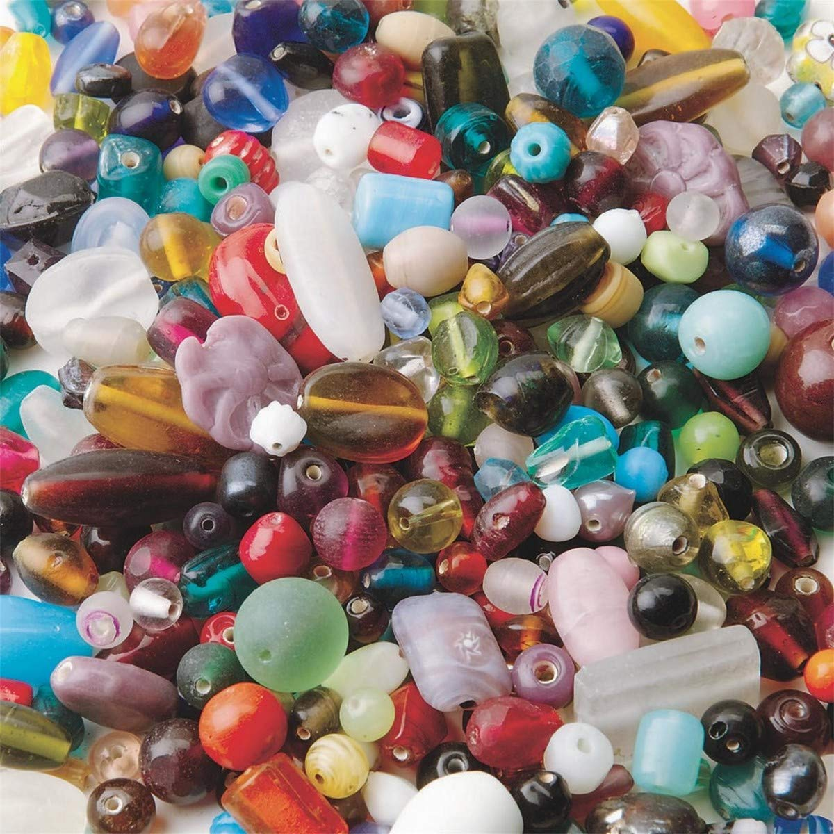 Darice 1 lb Glass Beads - Assorted Shapes, Colors and Sizes - Big Value 0726-70
