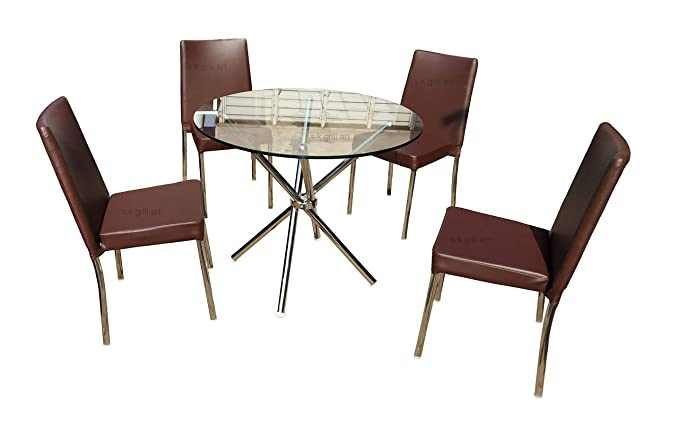 S K Grill Art Stainless Steel Folding Dining Table With 4 Chair Pure Steel 3 X 3 Feet Top Glass Brown Leather Chair Amazon In Home Kitchen