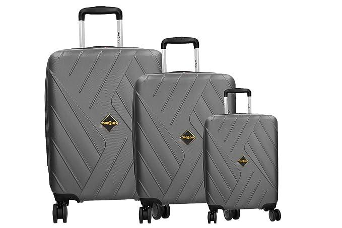 CLACSON 3 Maletas rígidas set gris cabina 4 ruedas ABS equipaje de mano VS318: Amazon.es: Ropa y accesorios