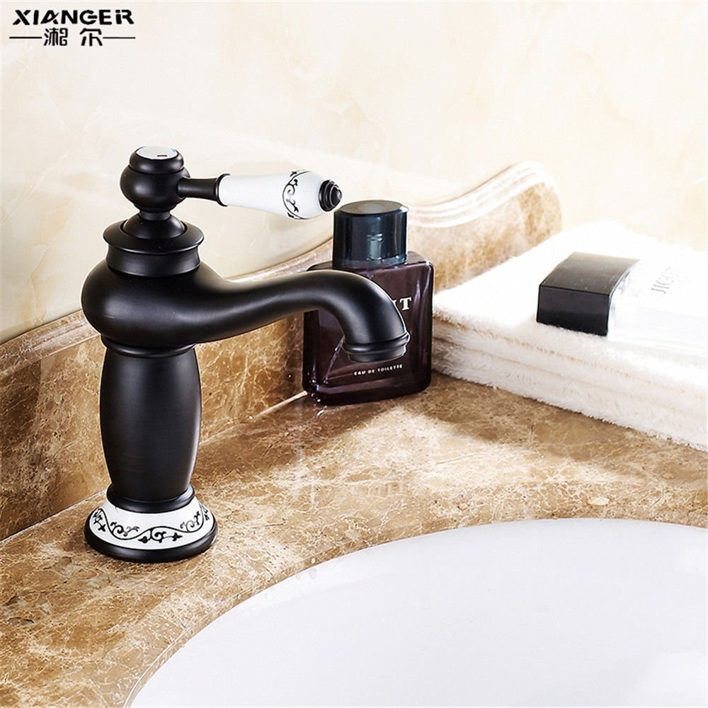 ETERNAL QUALITY Bathroom Sink Basin Tap Brass Mixer Tap Washroom Mixer Faucet The black surface sink hot and cold full copper Washbasin Faucet hand wash basin single hole