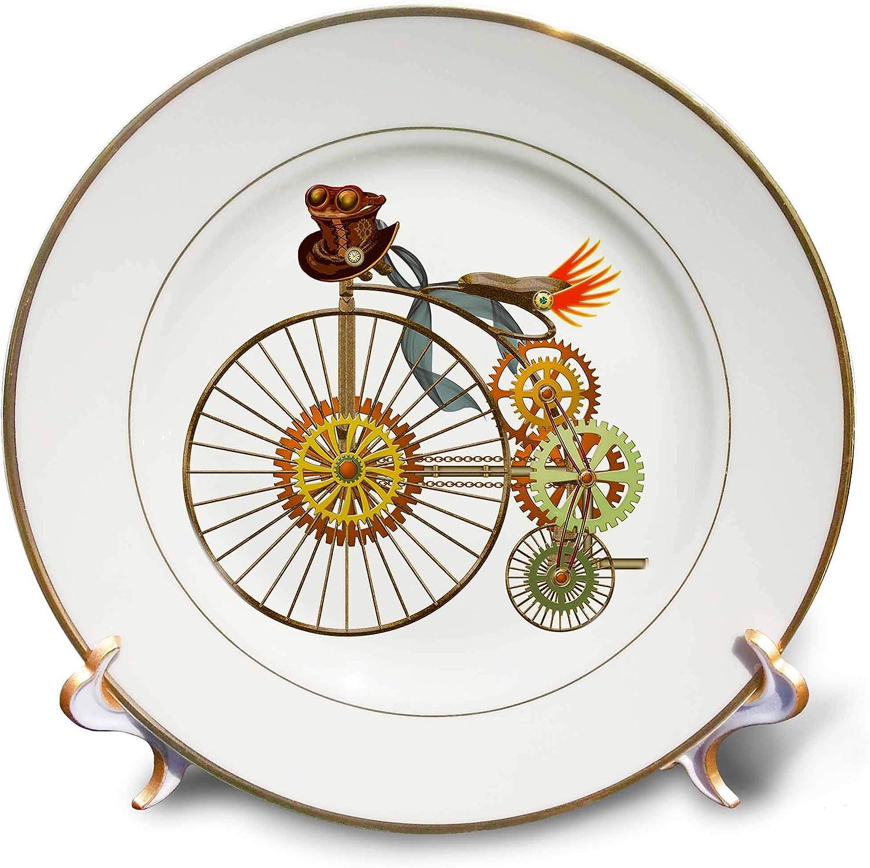 3dRose Penny Farthing Big Wheel Steampunk Bike Digital Art - Plates (cp_335859_1)