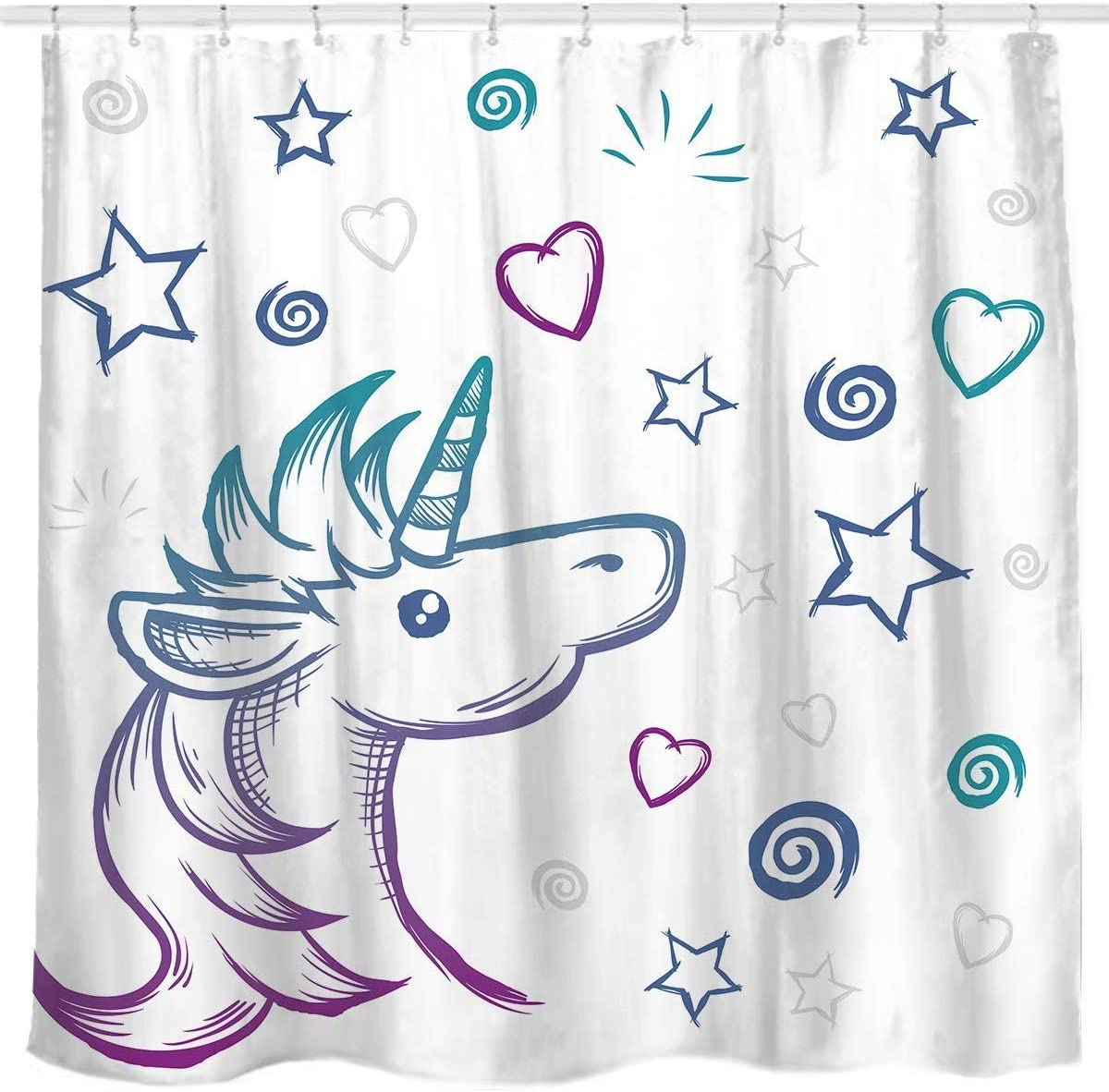 Amazon Com Cdhbh Unicorn Fabric Shower Curtain With Star Machine Wash For Children S Bathroom Decoration Durable And Easy To Clean Waterproof Fabric For Bathroom Shower Hotel Home Kitchen
