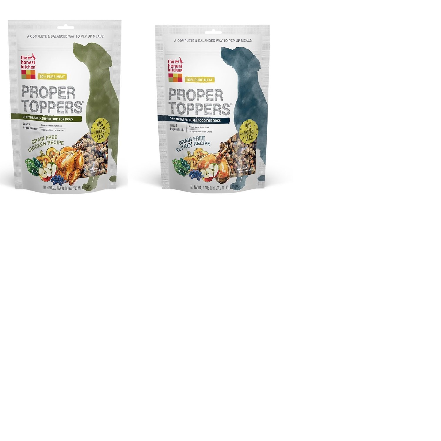 2 Pack The Honest Kitchen Proper Toppers: Grain-Free Superfood Dog Food 1 Chicken 1 Turkey 5.5oz Each