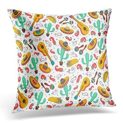 Amazon Breezat Throw Pillow Cover Viva Mexico Mexican Culture