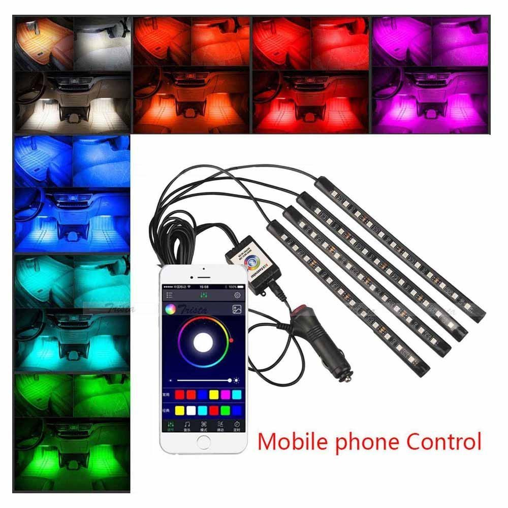 JahyShow Car LED Strip Lights, JahyShow 4pcs Multicolor LED Car Interior APP Music Control RGB Under Dash Lighting Kit with Sound Active Function and Wireless Remote Control