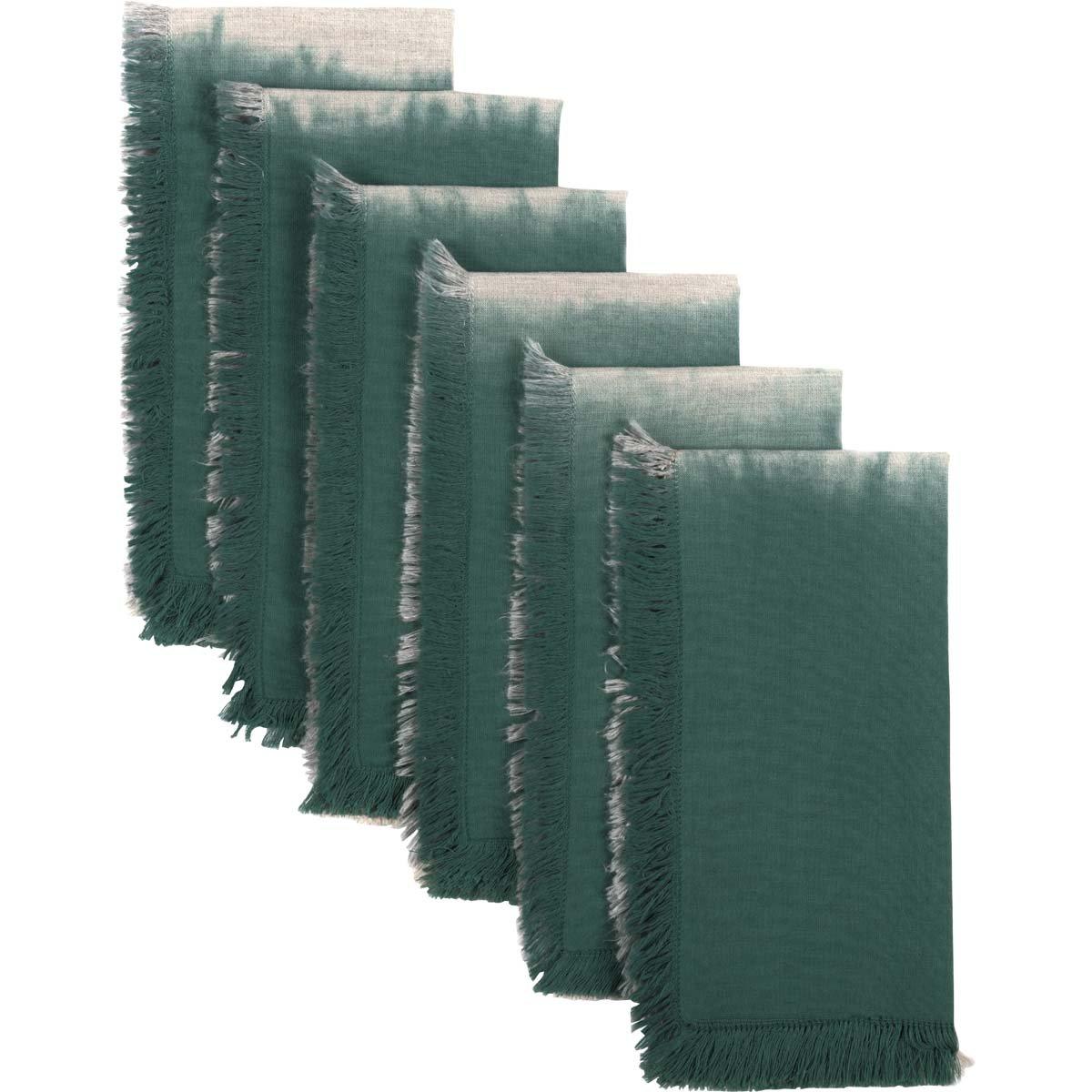 VHC Brands Farmhouse Tabletop & Kitchen - Jessa Ombre Green Napkin Set of 6, Creme