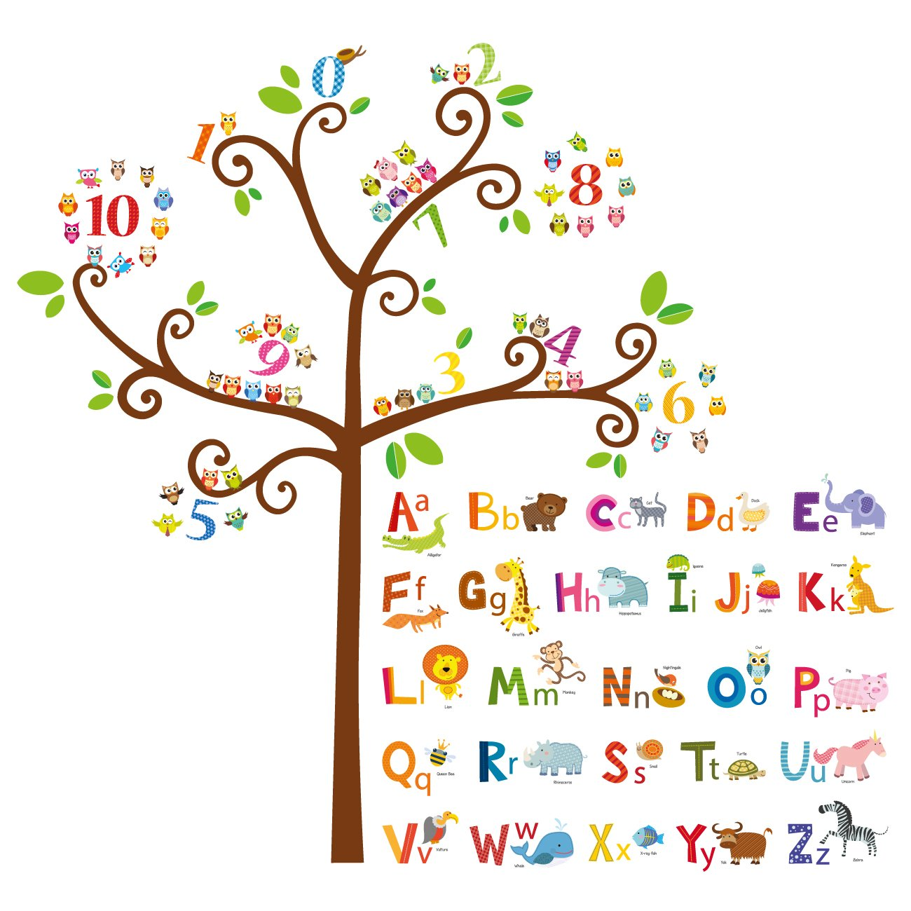 Decowall DA-1503 Animal Alphabet ABC and Owl Numbers Tree Kids Wall Decals Wall Stickers Peel and Stick Removable Wall Stickers for Kids Nursery Bedroom Living Room by Decowall