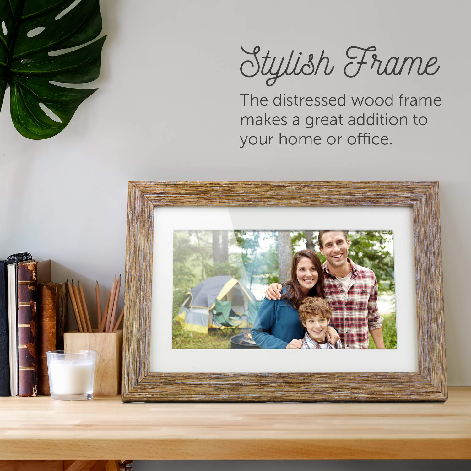 Aluratek (ADPFD10F) 10 inch Digital Photo Frame with Auto Slideshow, Distressed Wood Border, 1024 x 600, 16: 9 Aspect Ratio, Wall Mountable by Aluratek (Image #2)