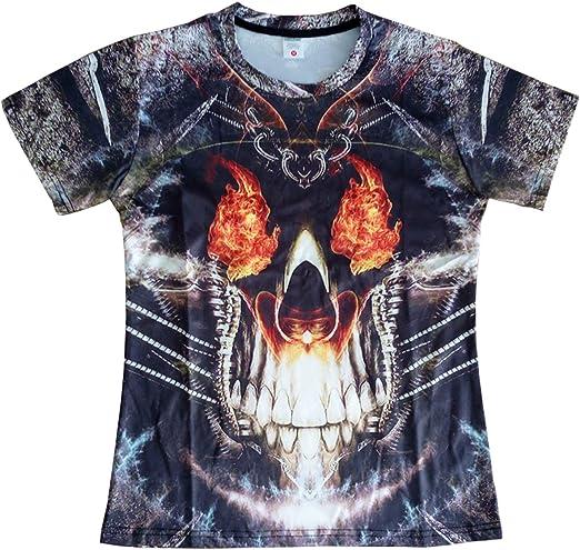 Blue Fire Skull Unisex Women Men Casual T-Shirt 3D Print Short Sleeve Tee Tops