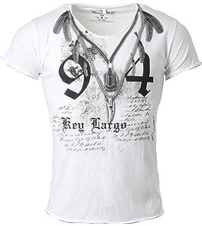 Key Largo Herren T-Shirt Native Vintage Look Motiv Print Tiefer V-Ausschnitt  taillierte 0506423b07