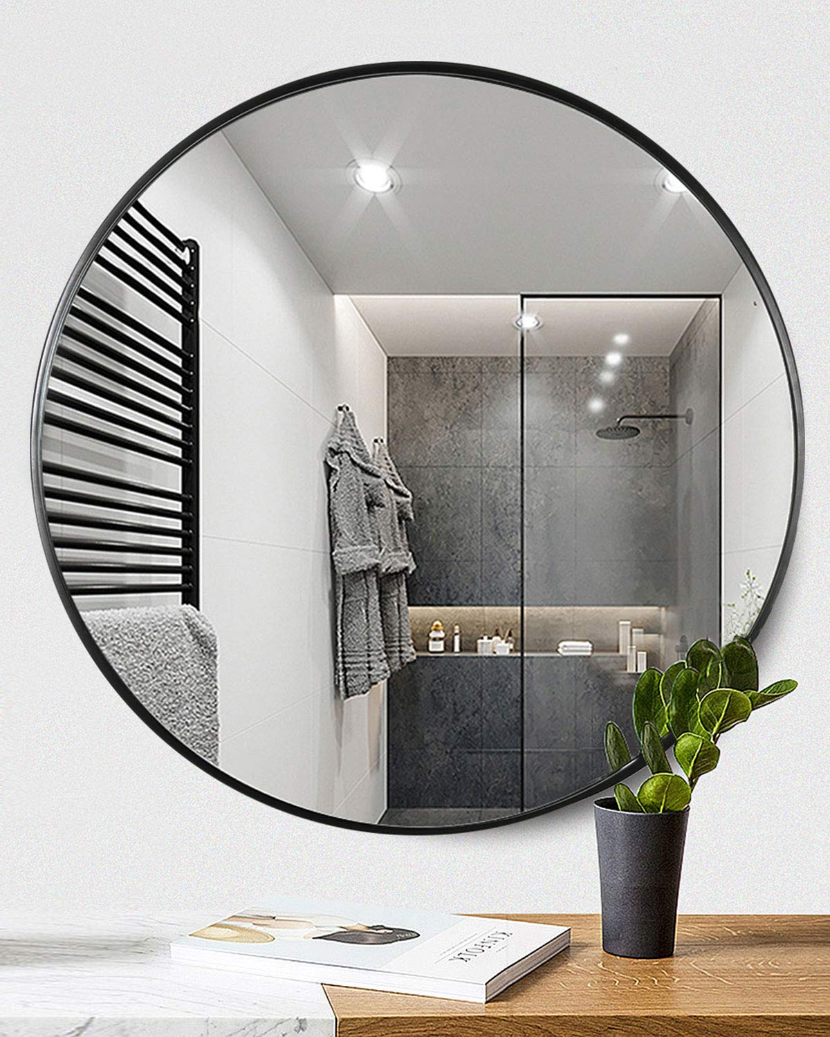 TinyTimes 23.63 Inch Round Mirror, Modern Accent Wood Frame, Large Vanity Mirror, for Entryways, Living Rooms, Bathroom, Home Mirrors Decor, Circle Wall Mirror - Black