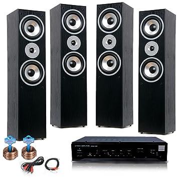 sistema de alta fidelidad casero teatro musical estéreo 4x amplificador AUX destacan cable de los altavoces