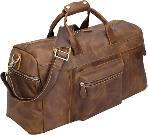 Polare 23 Full Grain Cowhide Leather Weekender Duffle Bag Overnight Luggage Travel Duffel Bag For Men