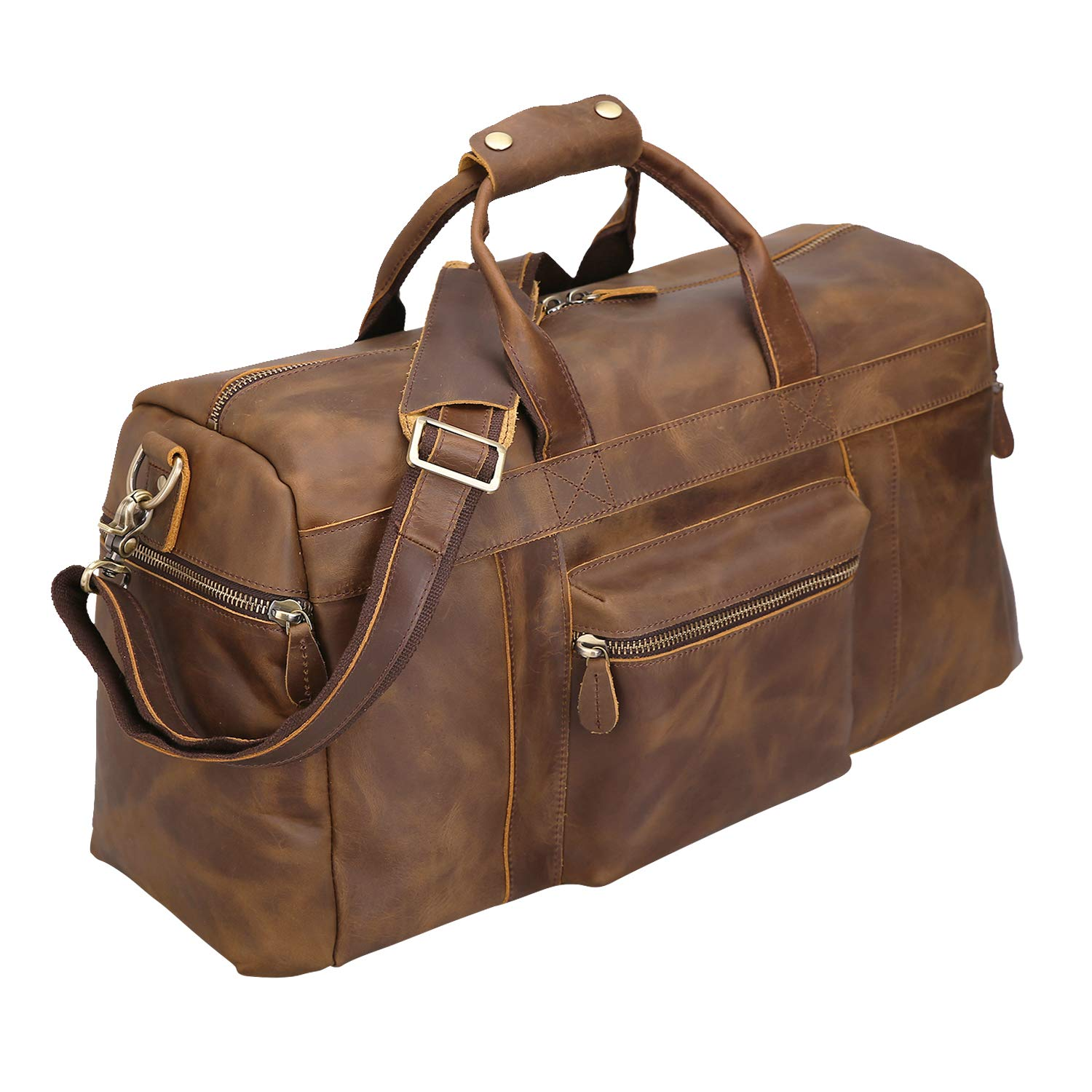 79d2bedfb8d5 Polare 25'' Duffle Genuine Leather Weekender Travel Duffel luggage Bag with  YKK Zipper