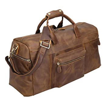 fc64407df Polare 23'' Duffle Retro Thick Cowhide Leather Weekender Travel Duffel  luggage Overnight Bag