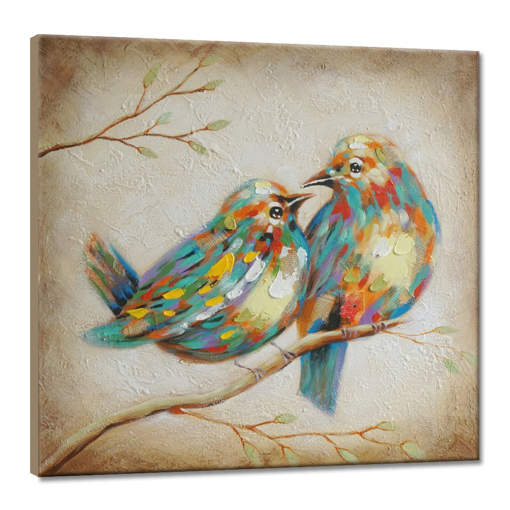Seven Wall Arts 100 Hand Painted Modern Vintage Art Animal Colorful Quirky Birds Painting With Stretched Frame Wall Art For Home Decor Ready To