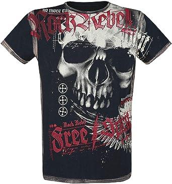 Rock Rebel by EMP Camiseta con Calavera Hombre Camiseta Negro, Regular
