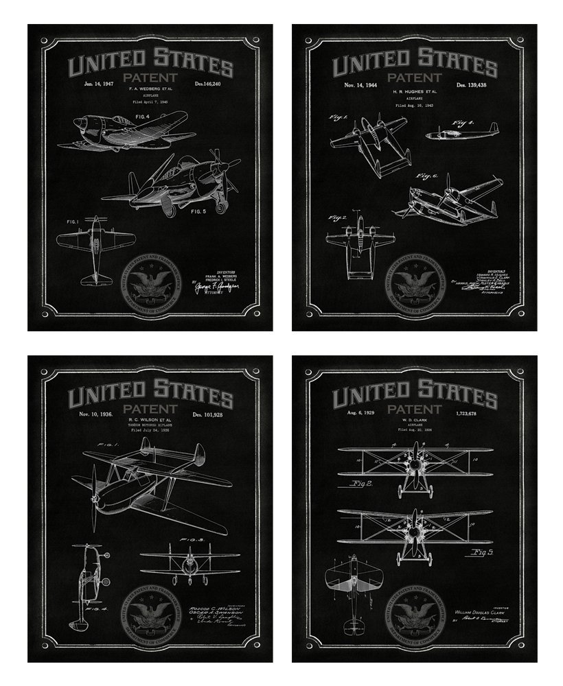 Designed exclusively for Wallables Midnight Black Airplane Patents Decor Set of Four 8x10 Vintage Aviation Themed Decorative Prints living room office great for bachelor pad