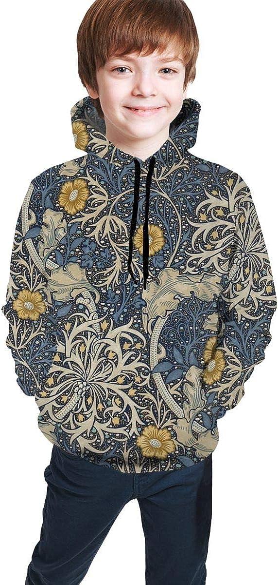 Lichenran Floral Pattern Unisex Pullover Teens Hoodie Hooded Sweatshirt Colorful