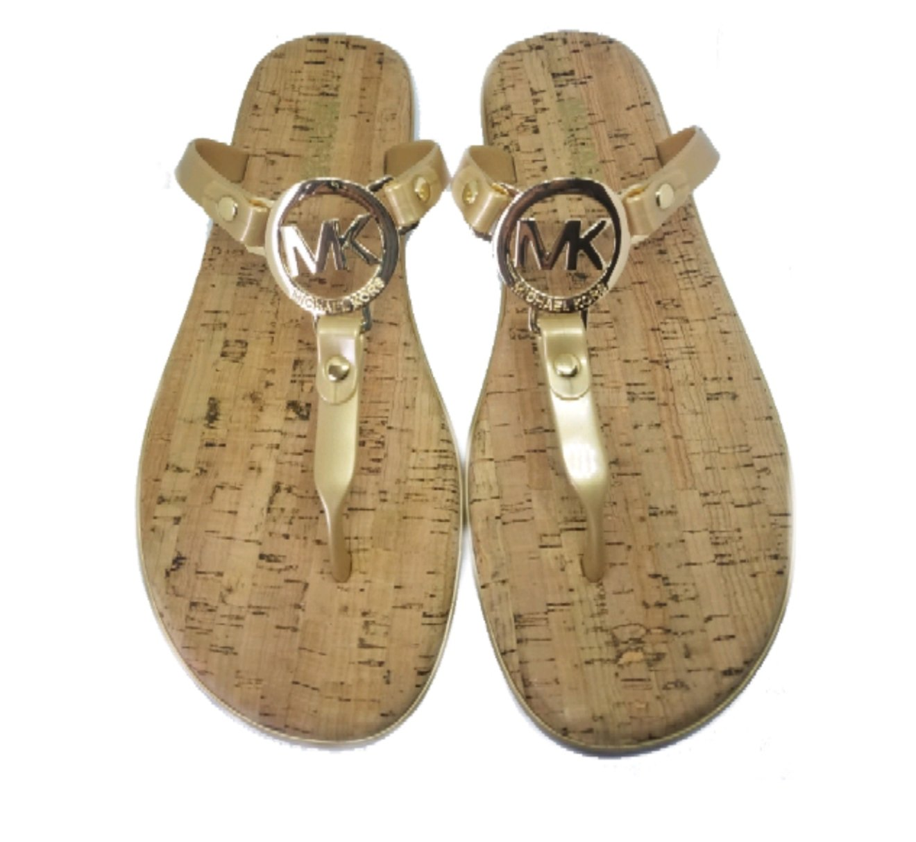 59578b2d4676 Galleon - Michael Kors MK Charm Cork Bottom Jelly Flip Flop
