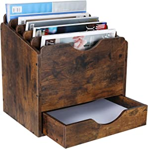 PAG Wood Desktop File Holder Organizer Mail Sorter with Drawer, for File Folders, Mails, Envelopes, Mailing Supplies or Magazines, 6 Compartments, Retro Brown