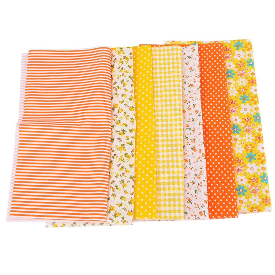 7pcs Tissu Carré Textile Artisanat Bundle Patchwork Coupon Écologique Bricolage Couture DIY Quilting Scrapbooking Petites Fleurs Serie Orange Jaune Cysincos
