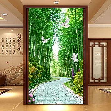 Papel Pintado Fotomural Corredor del bosque de bambu Fondo ...