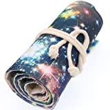 Coideal Canvas Pencil Wrap Roll Up Case Colored Pen Pencil Holder 36 Slots for Kids and Adults, Travel Drawing Coloring Pencils Roll Up Pouch Bag Organizer for Artist