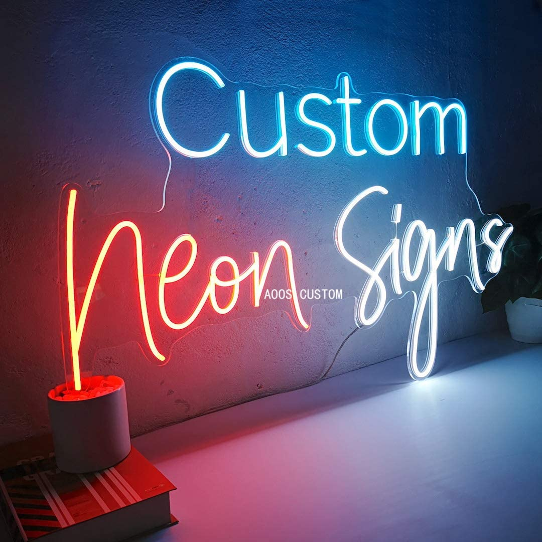Customization Options: Color, Size, Dimming, Wall Mounted, Desktop Type, Hanging in a Window//Ceiling, Electrical//Battery Powered AOOS CUSTOM Dimmable LED Neon Signs for Wall Decor