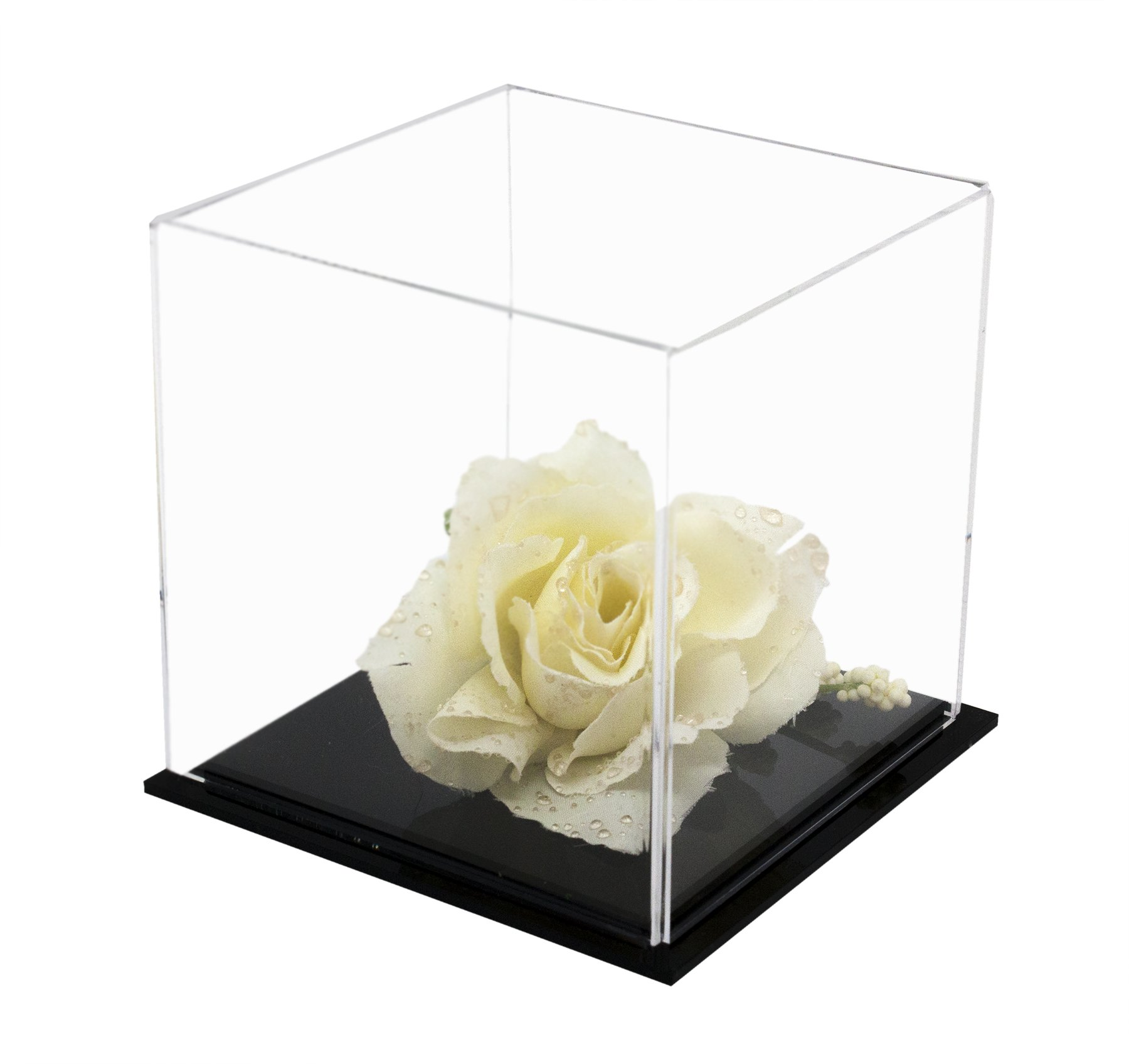 Versatile Acrylic Display Case, Cube, Dust Cover and Riser 4'' x 4'' x 4'' (A057-DS)