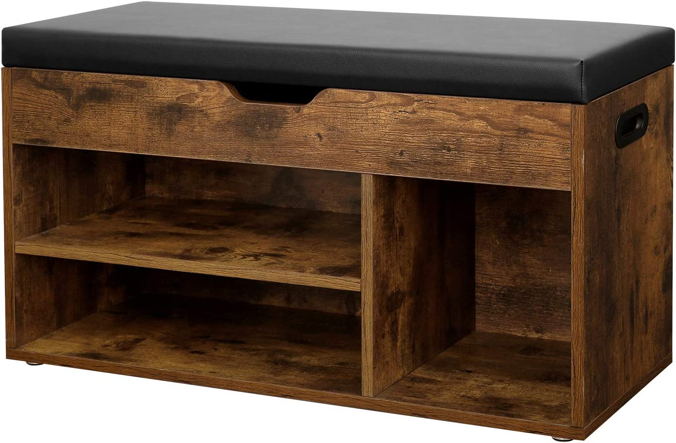 VASAGLE Shoe Bench with Cushion, Storage Bench with Padded Seat, 3 Compartments, Hidden Storage, Shelves, Living Room Lounge Hallway Bedroom, Load Capacity 150 kg, Rustic Brown LHS30BX