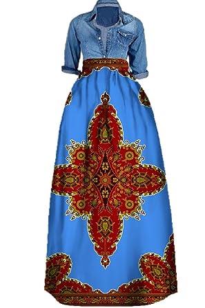 89c73ddf06 Huiyuzhi Women s African Print Skirts Long Maxi Skirt Dashiki Ball Gown (M