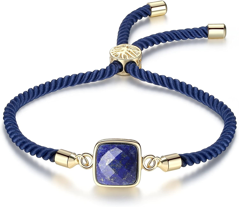 COAI Pulsera para Mujer Ajustable con Piedra Natural Cuadrada y Cordón Espiral de Nylon con Cierre Amuleto Árbol de la Vida