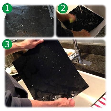 Grill Mat Set de 5, Non stick barbacoa Grill mats-deserti marcas, aprobado por la FDA ni ácido perfluoroctanico, reutilizable, y fácil de limpiar: ...