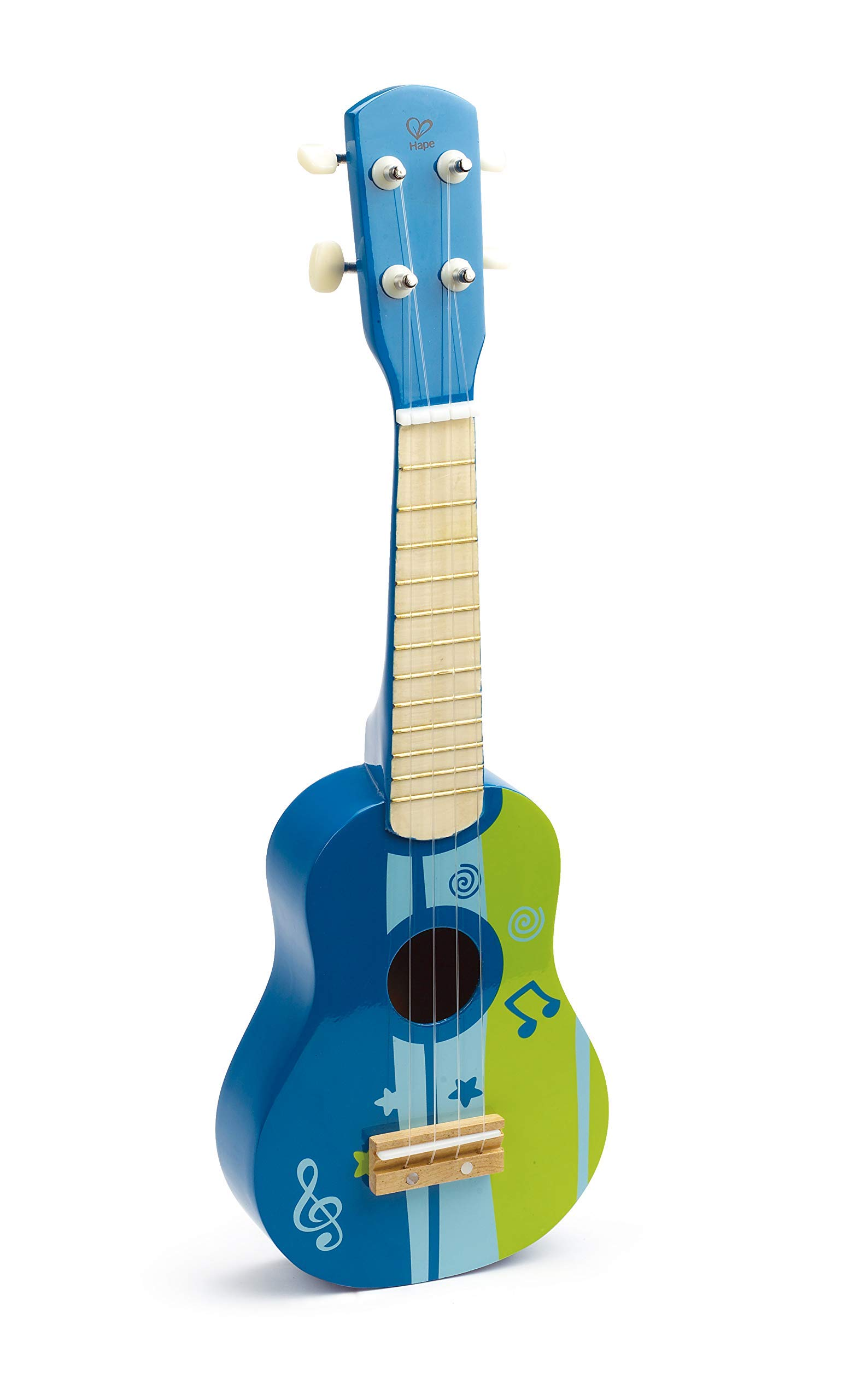 Hape Kid's Wooden Toy Ukulele in Blue (Renewed)