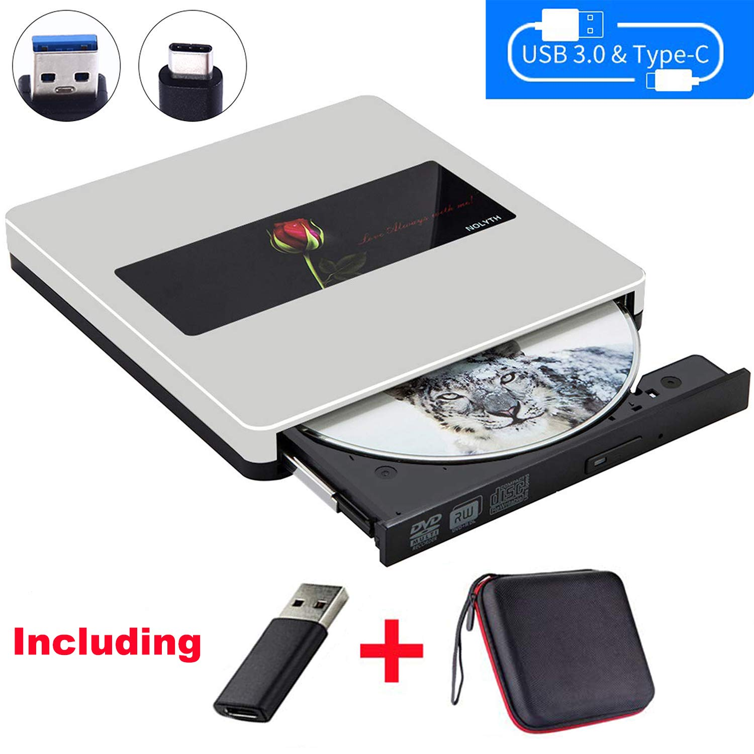 NOLYTH External CD DVD Drive USB3.0 CD DVD Drive CD DVD Player Burner Optical Drive for Laptop/MacBook Air/Pro/Windows Made with Alumium Alloy Supported DVD±RW/CD±RW by NOLYTH