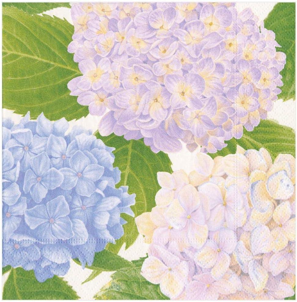 Caspari Hydrangea Garden Paper Dinner Napkins in Lavender - Two Packs of 20