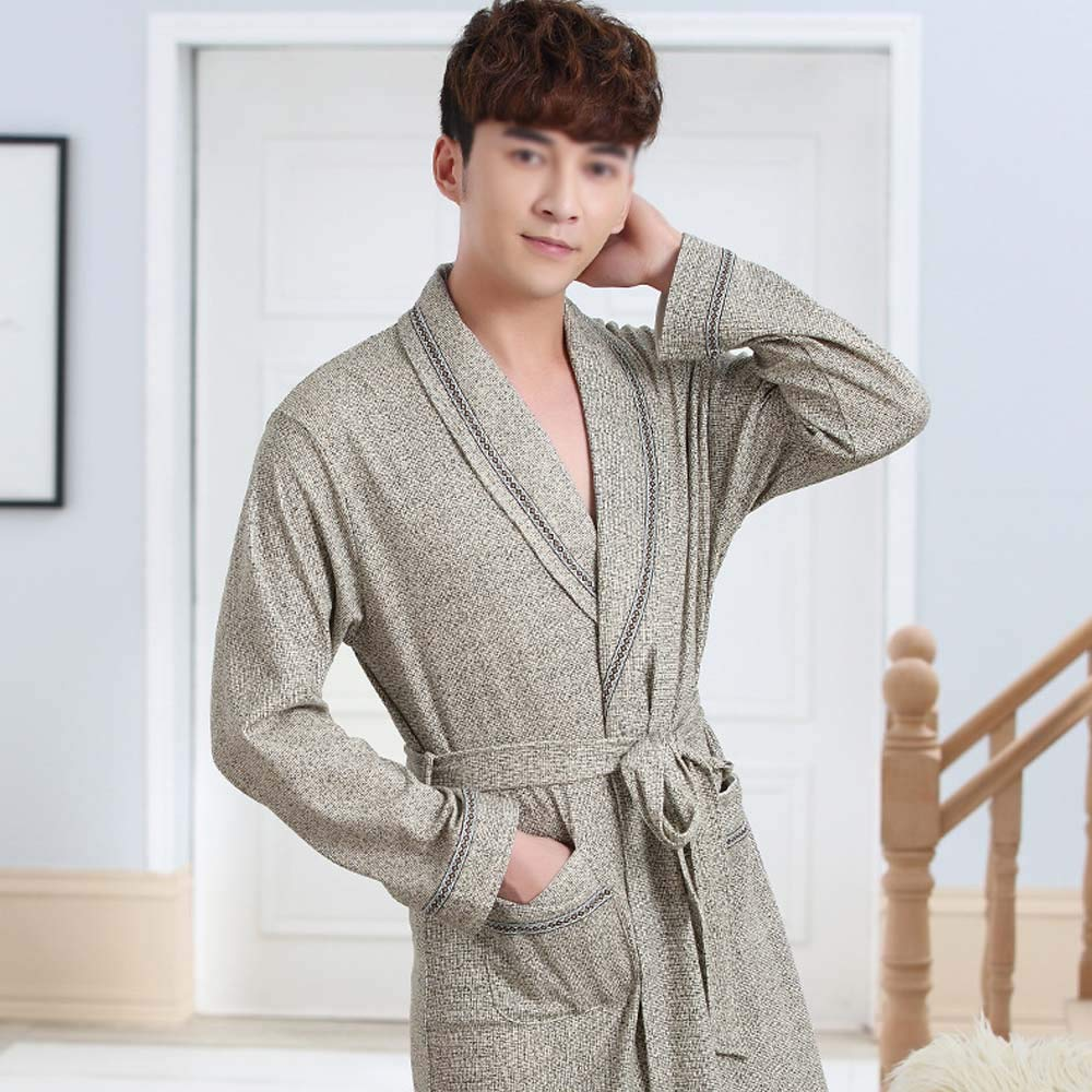 HUIFANG Mens 100/% Cotton Nightgown Spring and Autumn New Thin Long-Sleeved Pajamas Home Service Middle-Aged Mens Robe Bathrobe Size : L