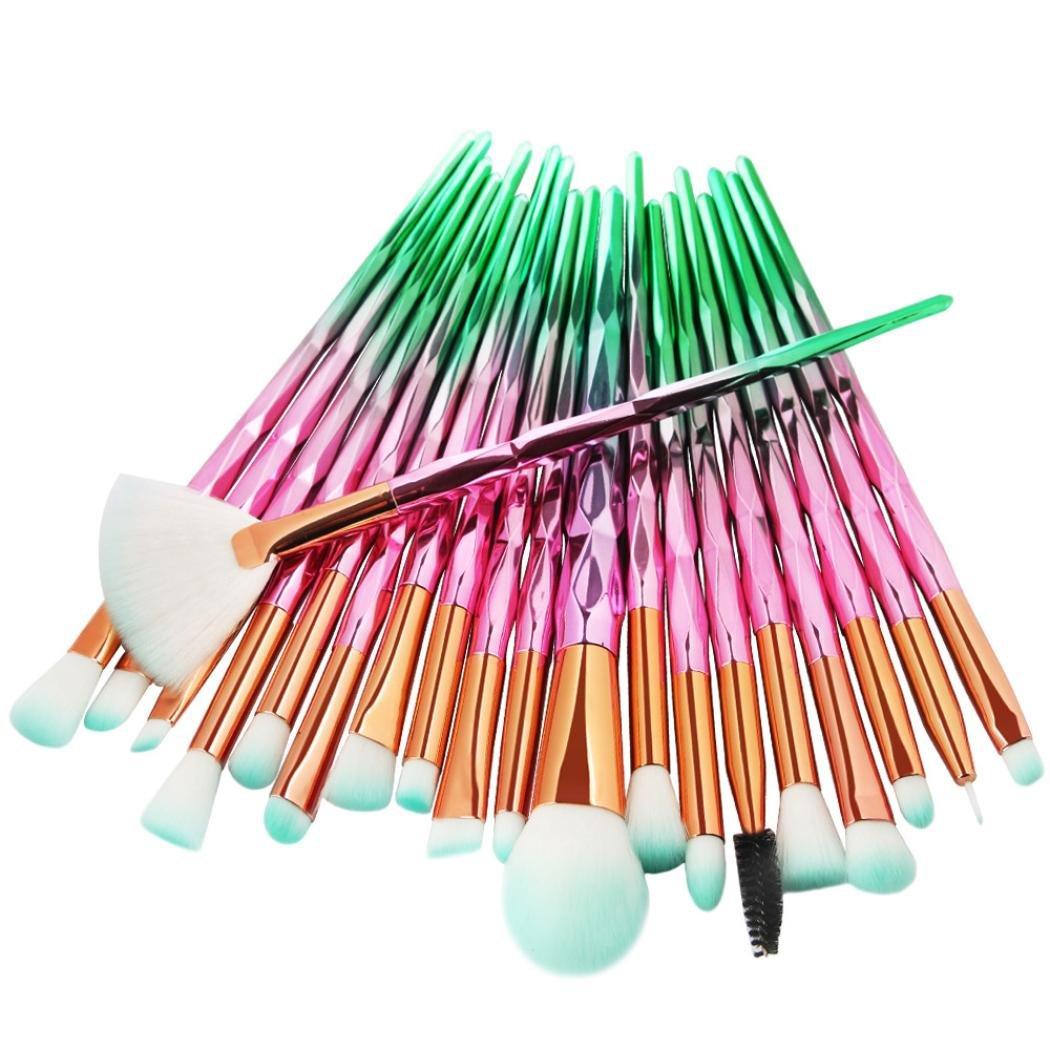 20 Stück Bunte Einhorn Make-up Pinsel Set, EUZeo Powder Foundation Eyeshadow Eyeliner Lip Cosmetic Brush Eyelash brush (B) EUZeo-Make-up Pinsel