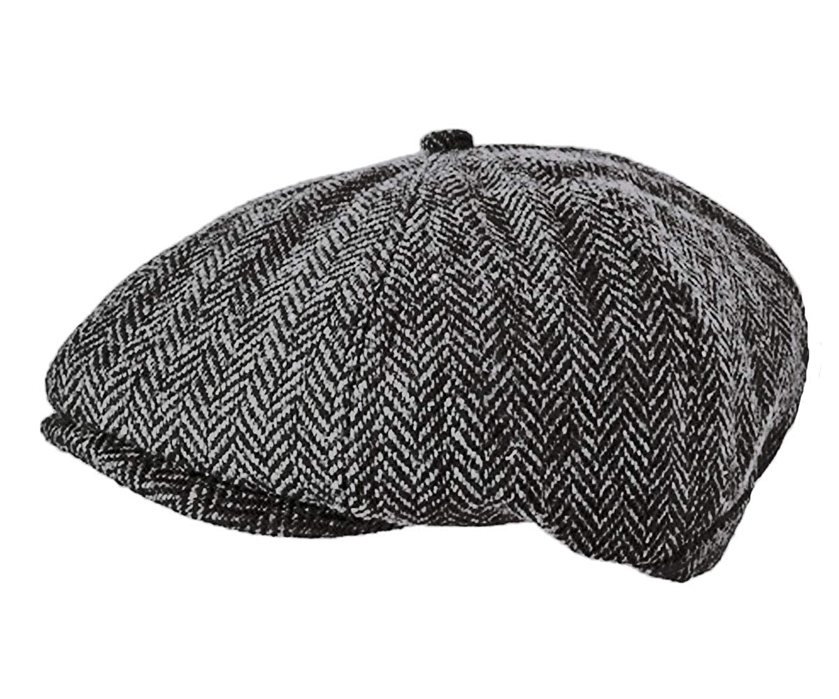 58db6599 TOSKATOK® Unisex Mens, Ladies 8 Panel Herringbone Wool Blend Baker Boy News  Boy Cap-Black/Grey: Amazon.co.uk: Clothing
